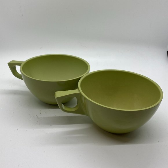 Vintage Sun-Valley Green Melmac Coffee Cups (2)